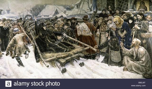 a-reproduction-of-boyar-morozova-a-painting-by-vasily-surikov-from-B9EJ8T